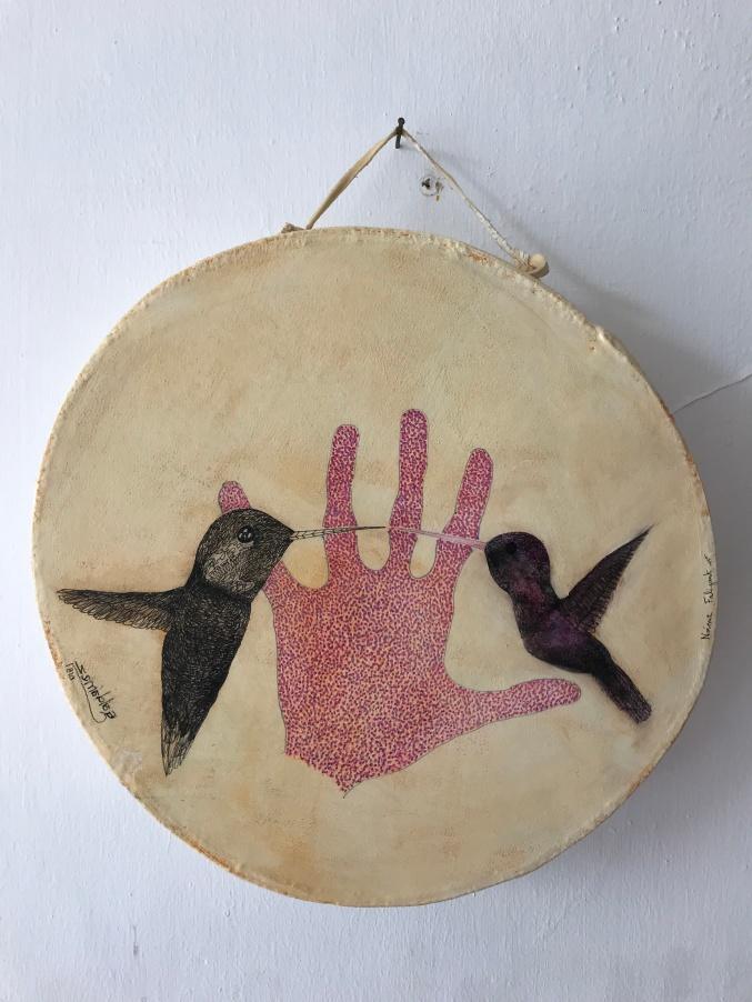 En la palma del corazón I, técnica mixta, 30x30 cm, 2018