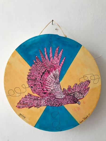 En la palma del corazón III, técnica mixta, 30x30 cm, 2018